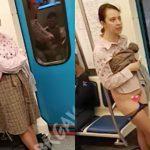 電車内でなぜかスカートを捲し上げてマ●コを晒す女性。