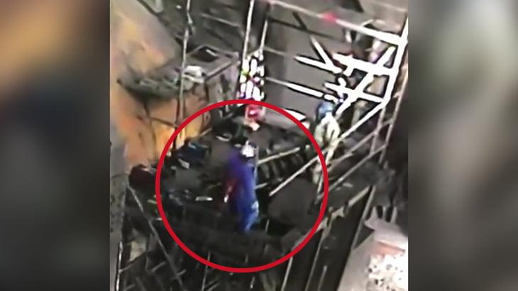 【衝撃映像】命綱のせいで死んでしまった作業員の男性。