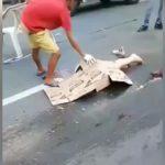 【閲覧注意】トラックに轢かれて胴体が切断されてしまった女性。