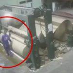 【衝撃映像】工場のローラーにとんでもない速さで巻き込まれて死亡した男。