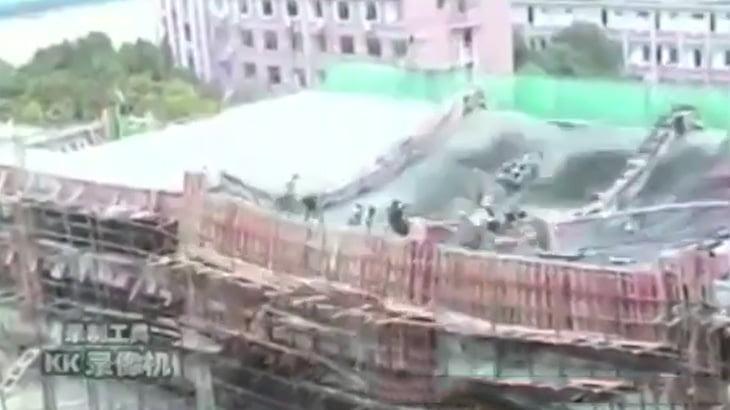 【衝撃映像】建設現場の屋根が崩壊して作業員が死んでしまったアクシデント映像。