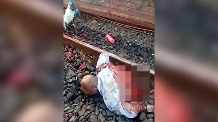 【閲覧注意】列車に轢かれて胴体真っ二つになった男性のグロ動画。