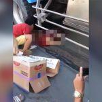 【閲覧注意】トラックに胴体を切断されて死亡した女性のグロ動画2本。
