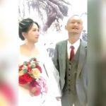 嬉しそうな新郎とちょっと嫌そうに見える新婦の結婚式映像。