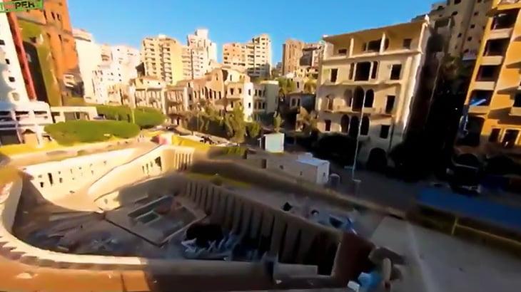 ベイルート大爆発後の街をドローンで撮影した映像。