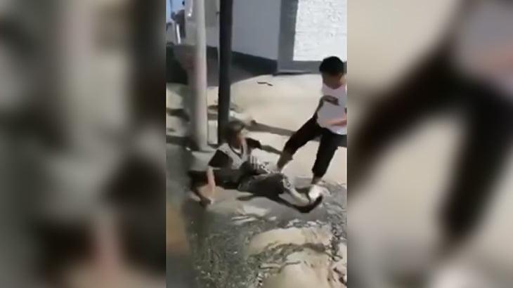 おばあちゃんを蹴りまくるクソガキの映像。