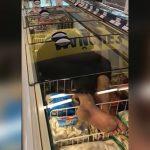 スーパーの冷蔵ショーケースの中に入って寝る男の映像。