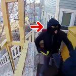 とある家を襲撃した3人組の男たち。1人だけめちゃくちゃビビってる映像。