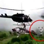 救助に来たヘリのプロペラで頭を粉砕されて死んでしまう男性の映像。