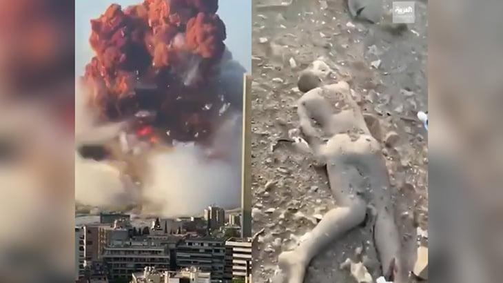 【衝撃映像】レバノンの倉庫が大爆発する瞬間と死体が転がる現場の映像。