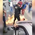 【衝撃映像】モブジャスティスで生きたまま燃やされてしまう男。