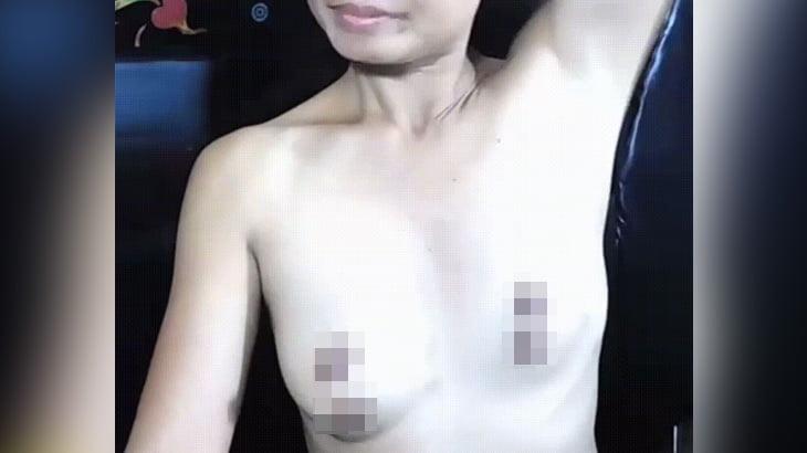 乳首が4つある女性のGIF画像。