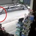 トラックに喧嘩を売った酔っぱらいの男、タイヤに頭を踏み潰されてしまう映像。