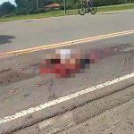 【閲覧注意】事故で身体をグチャグチャにされた男性の肉片が散らばるグロ動画。
