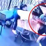 お店のテラス席に座っていた子供を誘拐しようとした男の映像。