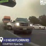 トラックの追突から間一髪逃れることが出来た車載カメラ映像。
