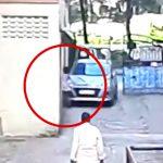 車と壁に挟まれて押しつぶされてしまった女の子の映像。