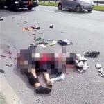 【閲覧注意】バイク事故で脚が180度開いて死亡した女性の映像。