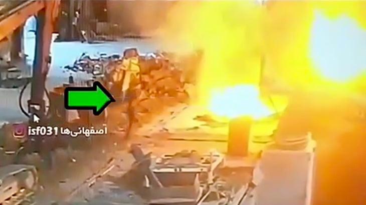 溶鉱炉に飛び込んで自殺する男の映像。