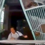 運転が下手すぎる女さん、自宅に駐車しようとして人を轢いてしまう映像。