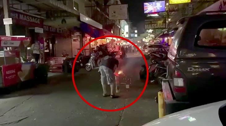 花火の暴発で死んでしまった男性の映像。