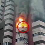 火災の煙から逃れるためにベランダの壁にしがみついていた男が燃え上がった炎で落下してしまう映像。