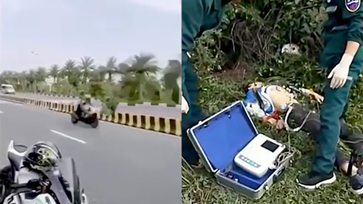 公道でとんでもないスピードを出していたバイカーが事故って死亡した映像。