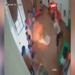 幼稚園の消防訓練中に身体に火が燃え移って火傷を負ってしまった園児たちの映像。
