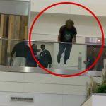 口論直後に勢いよく飛び降り自殺する男の映像。