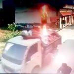 ゴミ収集車の作業員が電線に触れて感電死する瞬間の映像。