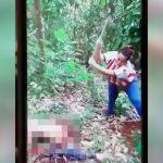 【閲覧注意】ライバルギャングの身体を斧で切断しようとする女ギャングの映像
