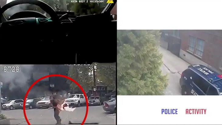 火の点いた棒を持って歩く男が警察官を襲って発砲される事件映像。