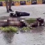 首相官邸前で焼身自殺をはかって大やけどを負い苦しむ男の映像。