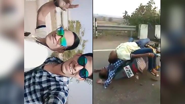 バイクで走りながらTikTokの動画撮ってた2人の男が事故って死亡した映像。