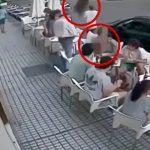 テラスで昼食中に植木鉢が降ってきて頭に直撃する映像。
