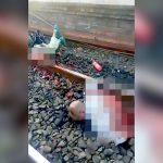 【閲覧注意】電車に胴体を真っ二つにされてしまった男性のグロ動画。