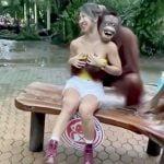 女性のオッパイを揉みしだいて満面の笑みを浮かべるオランウータンの映像。
