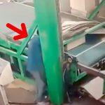 工場の機械にゆっくりと潰されて死んでしまった作業員の映像。