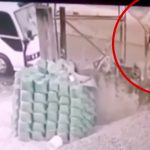 車に轢かれた後バスのフロントガラスに激突する男の映像。