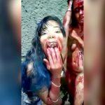 旦那と不倫セックスした女性を殴って流血させてその血を舐める女さんの映像。