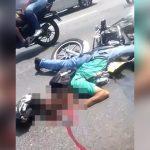 【閲覧注意】バイク事故で顔が潰れて死亡した男性のグロ動画。