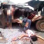【閲覧注意】自動車事故で乗っていた家族全員死亡した現場の映像。