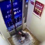 手首にリードを付けられた小さな女の子がエレベーター内で宙吊りになってしまう映像。