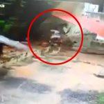 壁が突然崩れて男性が潰されて死亡する映像。