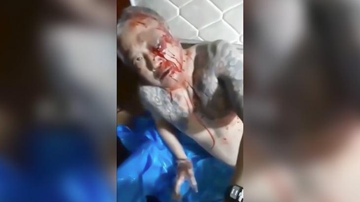 日本のヤクザが殺し屋の男をボコる様子を撮影した映像。