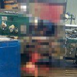 【閲覧注意】回転する機械に巻き込まれて肉片飛び散って死んだ男性を近くで撮影したグロ画像。