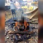 【閲覧注意】BBQみたいに焼かれてしまった男性の死体映像。