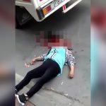 【閲覧注意】転倒した女性がトラックのタイヤで頭を踏み潰されてしまうグロ動画。