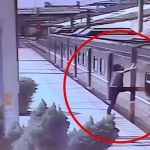 勢いよく電車の屋根に登って電線に触れて死んでしまう男の映像。