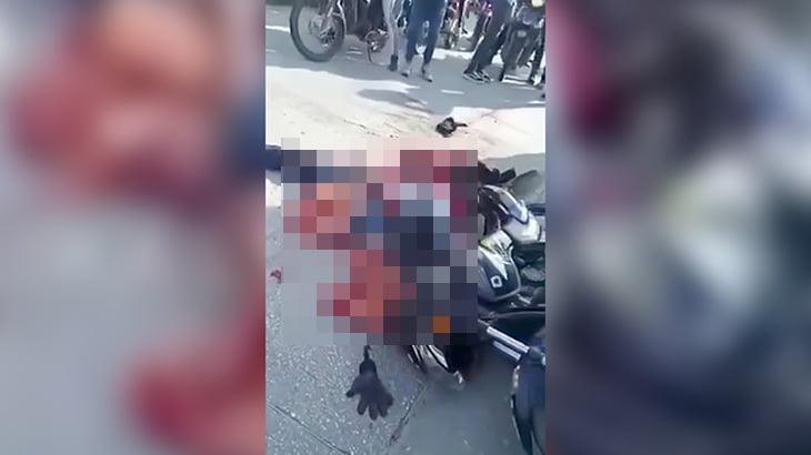 【閲覧注意】バスに轢かれてグッチャグチャになったバイカーのグロ動画。